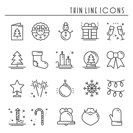 Christmas thin line icons set. Basic xmas winter elements. Vector simple flat linear design.  イラスト・ベクター素材