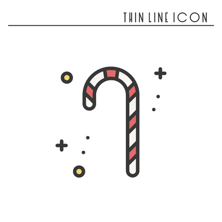 Christmas candy cane thin line icon. New Year celebration outline decorated pictogram. Xmas winter element. Vector simple flat linear design. Logo illustration. Silhouette symbols. Candy cane