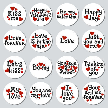 Valentines day round stickers set. Romantic labels badges. Hand drawn decorative element. Love phrase. Heart symbols. Lettering, calligraphy. Vector illustration. Valentines Day stickers collection