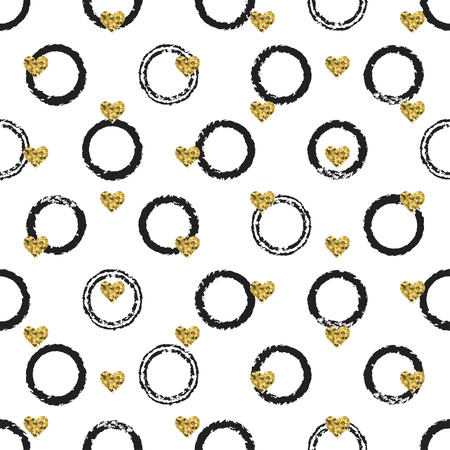 Seamless hand drawn ink polka dot pattern with gold heart shapes.
