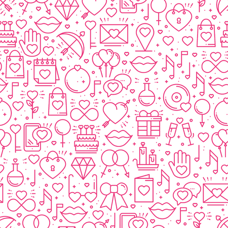 Seamless pattern with love symbols in line style. Valentines day. Love heart couple relationship dating wedding romantic amour theme. Vector illustration. Illustration