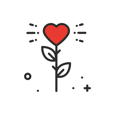 Flower heart line icon. Love sign and symbol. Love garden gardening flower romantic tattoo theme. Illustration
