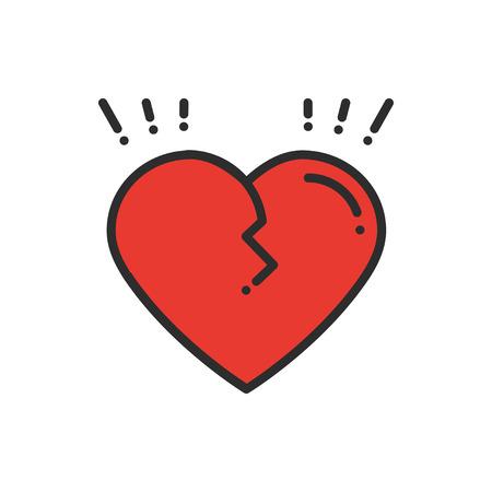 Broken heart line icon. Sign and symbol. Love end relationship lie wedding divorce treachery heartbreak theme. Heart shape