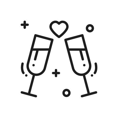 Two glasses, romantic toast line icon. Wedding sign and symbol. Binge, drink, champagne, wine. Wedding birthday holidays event greetings love theme.  イラスト・ベクター素材