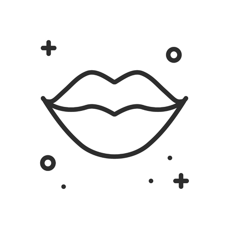 Lips Kiss Line Icon Woman Lips Contour Sign And Symbol Love