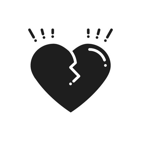 Broken heart line icon. Sign and symbol.