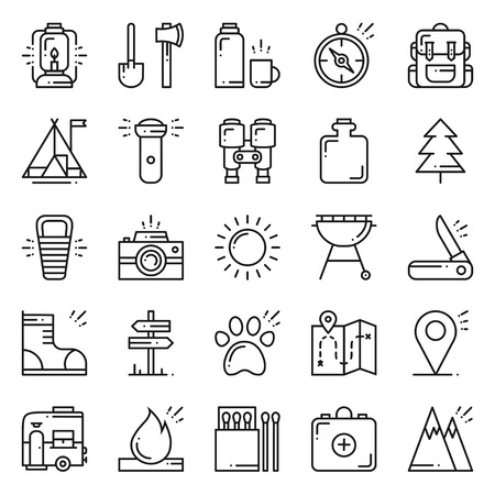 Hiking and Camping Line Icons Set. Outdoor Camp Sign and Symbol. Backpacking Adventure.