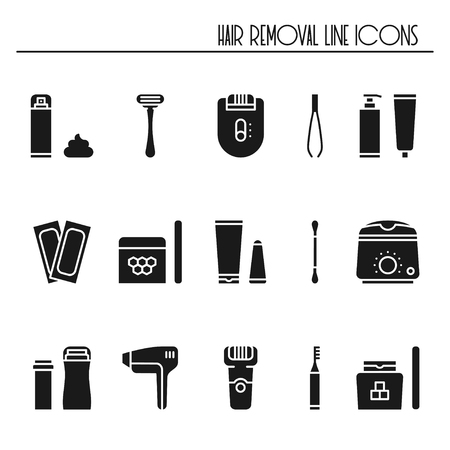 Hair removal methods silhouette icons set illustration.