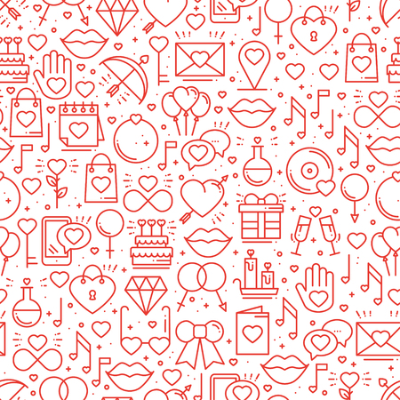 Seamless pattern with love symbols in line style. Valentines day. Love heart couple relationship dating wedding romantic amour theme. Vector illustration. Background. Vettoriali