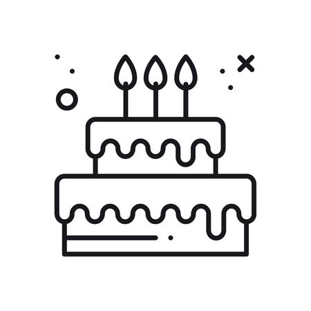Wedding cake with heart topper line icon. Wedding sign and symbol. Pie dessert. Happy birthday. Vector illustration. Congratulation.