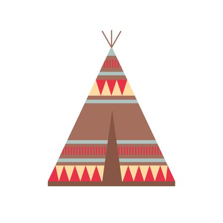 Indian Wigwam with Ornamental Elements. Ethnic Tribal Teepee. Boho style.