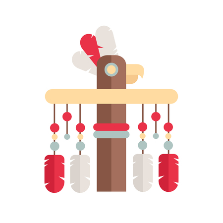 Tribal Ethnic Totem Pole. Native American Indian Theme.