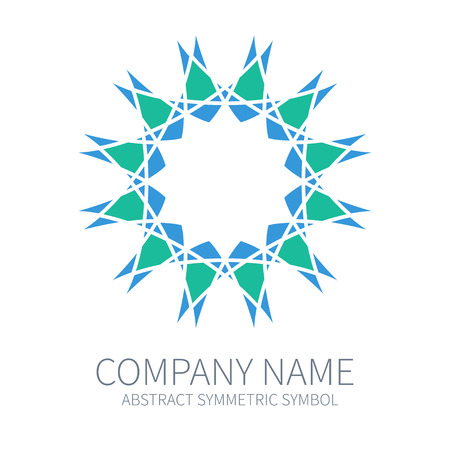 Abstract Symmetry Circle Logo. Harmony Polygon Form. Creative Signs and Symbols. Logotype Template. Green and Blue.