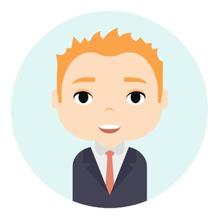 Avatar de hombre con caras sonrientes. Personaje de dibujos animados masculino. Empresario. Icono de gente guapa de jengibre. Trabajadores de oficina