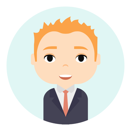 Man Avatar with Smiling faces. Male Cartoon Character. Businessman. Handsome Ginger People Icon. Office Workers Ilustracja