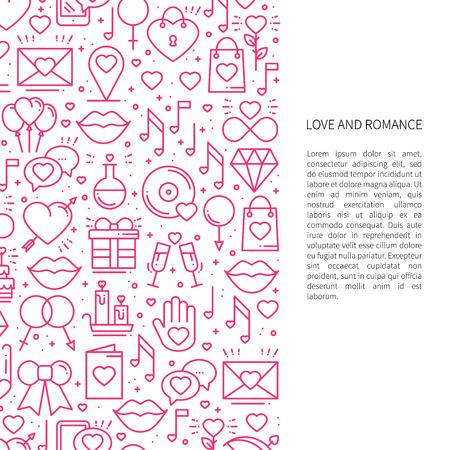 Concepto de patrón de línea de amor con lugar para el texto. Día de San Valentín. Amor, romántico, boda, relación tema de diseño de citas. Impresión única Ilustración de vector