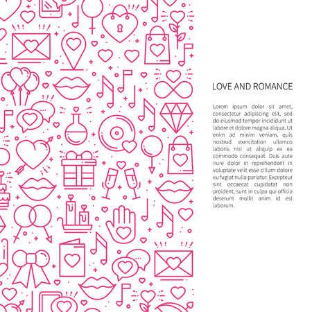 Love line pattern concept with place for your text. St Valentine's day. Love, romantic, wedding, relationship dating design theme. Unique print Vetores