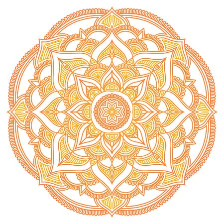 Mandala. Ethnic round ornament. Hand drawn indian motif. Mehendi meditation yoga henna theme. Unique yellow sun print