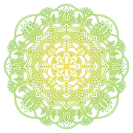 Mandala. Ethnic round ornament. Hand drawn indian motif. Mehendi meditation yoga henna theme. Unique green natural floral print