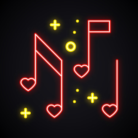 Neon music note with heart sign. Glowing karaoke music symbol. Favorite song. Club, record, disco, dance, nightlife, DJ, party theme.