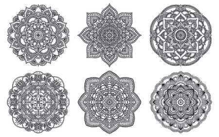 Mandala. Ethnic round ornament. Hand drawn indian henna motif. Mehendi meditation yoga theme. Unique floral print Stock Vector - 124768679