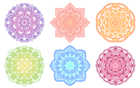 Colorful mandala. Ethnic round gradient ornament. Hand drawn indian motif. Mehendi meditation yoga henna theme. Unique floral print