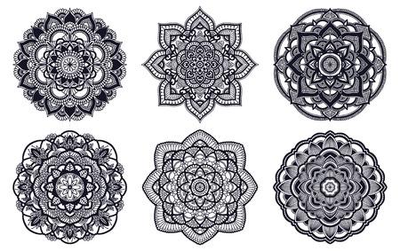 Mandala. Ethnic round ornament. Hand drawn indian motif. Mehendi meditation yoga henna theme. Unique floral print Stock Vector - 124768681