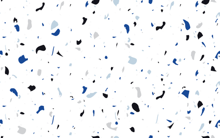 Terrazzo marble flooring design in blue colors. Seamless pattern. Repeating background with natural stone, glass, quartz, concrete, marble. Texture