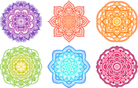Colorful gradient mandala. Ethnic round ornament. Hand drawn indian henna motif. Mehendi meditation yoga theme. Unique coloring floral print