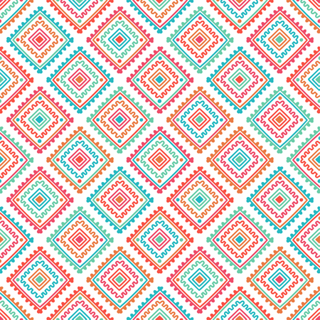 Ethnic seamless pattern. Tribal line print in african, mexican, american, indian style. Geometric boho background. Ethnic and tribal motifs can be used in fabric design. Vetores