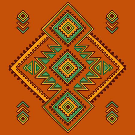 Tribal line shapes. Ethnic pattern. Sacred geometry print in african, mexican, american, indian style. Ethnic and tribal motifs can be used for textile, rug, coloring book. Ilustração