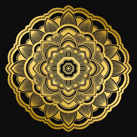 Mandala design. Ethnic round ornament. Hand drawn indian motif. Mehendi meditation yoga henna theme. Unique golden floral print