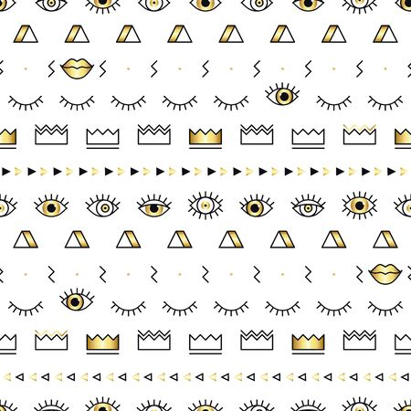 Memphis pattern with psychedelic eyes, lips and geometric shapes. Fashion background in 90s 80s style. Golden linear design. Triangle, zigzag, open eyes, crown and other graphic elements. Line art  イラスト・ベクター素材
