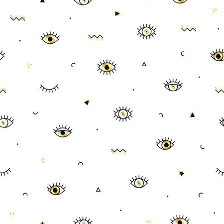 Memphis pattern with psychedelic eyes and geometric shapes. Fashion background in 90s 80s style. Golden linear design. Triangle, zigzag, open eyes and other graphic elements. Line art  イラスト・ベクター素材