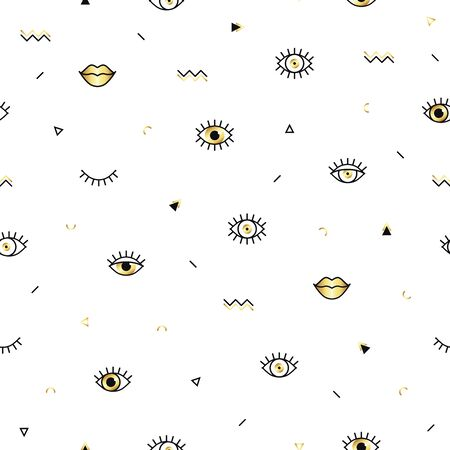 Memphis pattern with psychedelic eyes, lips and geometric shapes. Fashion background in 90s 80s style. Golden linear design. Triangle, zigzag, open eyes and other graphic elements. Line art