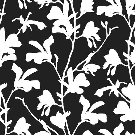 Seamless pattern with magnolia tree blossom in black and white. Floral background with branch and magnolia flower. Spring design with big floral outline elements. Hand drawn botanical illustration.  イラスト・ベクター素材