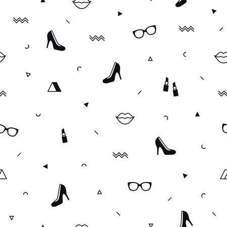 Memphis pattern with black high heel shoes, lips, sunglasses and geometric shapes. Fashion background in 90s 80s style. Triangle, zigzag and other graphic elements. Line art. Linear design