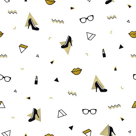 Memphis pattern with black high heel shoes, lips, sunglasses and golden geometric shapes. Fashion background in 90s 80s style. Triangle, zigzag and other graphic elements. Gold linear design  イラスト・ベクター素材