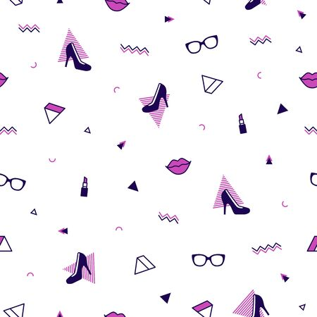 Memphis pattern with purple high heel shoes, pink lips, sunglasses and geometric shapes. Fashion background in 90s 80s style. Triangle, zigzag and other graphic elements. Linear design  イラスト・ベクター素材