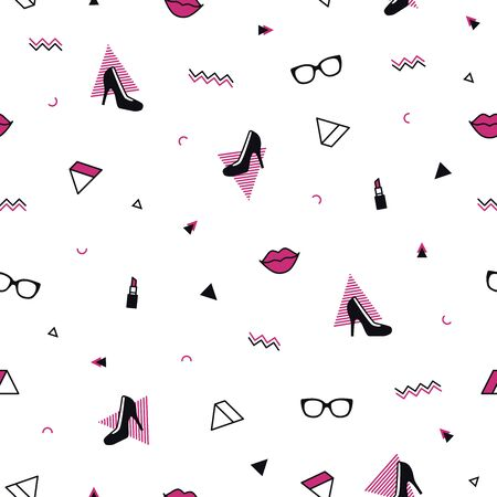 Memphis pattern with black high heel shoes, pink lips, sunglasses and geometric shapes. Fashion background in 90s 80s style. Triangle, zigzag and other graphic elements. Linear design