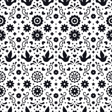 Mexican flowers, leaves and birds. Traditional seamless pattern for fiesta party. Floral folk art design from Mexico. Mexican folklore ornament. Black and white background  イラスト・ベクター素材