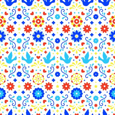 Colorful mexican flowers, leaves and birds on white background. Traditional seamless pattern for fiesta party. Floral folk art design from Mexico. Mexican folklore ornament  イラスト・ベクター素材