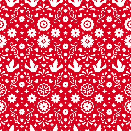 Mexican flowers, leaves and birds on red background. Traditional seamless pattern for fiesta party. Floral folk art design from Mexico. Mexican folklore ornament