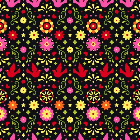 Colorful mexican flowers, leaves and birds on dark background. Traditional seamless pattern for fiesta party. Floral folk art design from Mexico. Mexican folklore ornament