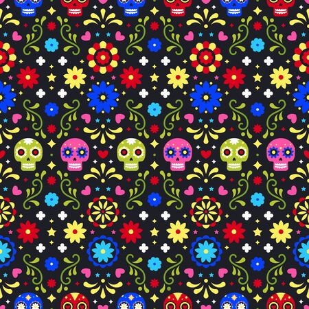 Day of the dead. Colorful mexican skulls, flowers and leaves on dark background. Traditional seamless pattern for fiesta party. Floral folk art design from Mexico. Mexican folklore ornament Фото со стока - 129095188
