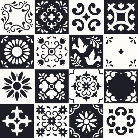 Mexican talavera pattern. Ceramic tiles with flower, leaves and bird ornaments in traditional style from Puebla. Mexico floral mosaic in black and white. Folk art design