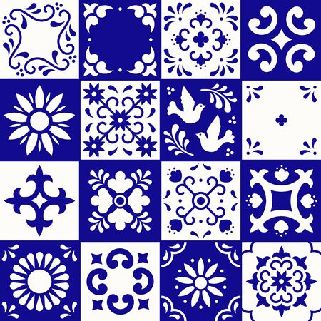 Mexican talavera pattern. Ceramic tiles with flower, leaves and bird ornaments in traditional style from Puebla. Mexico floral mosaic in navy blue and white. Folk art design  イラスト・ベクター素材