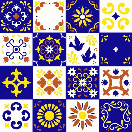 Mexican talavera pattern. Ceramic tiles with flower, leaves and bird ornaments in traditional style from Puebla. Mexico floral mosaic in ultramarine, terracotta, yellow and white. Folk art design.  イラスト・ベクター素材