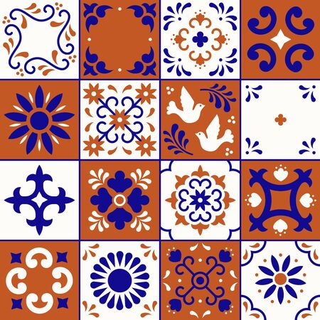 Mexican talavera pattern. Ceramic tiles with flower, leaves and bird ornaments in traditional style from Puebla. Mexico floral mosaic in navy blue, terracotta and white. Folk art design Фото со стока - 129095192