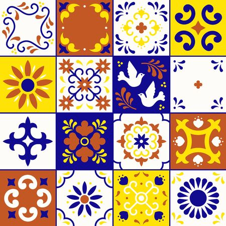 Mexican talavera pattern. Ceramic tiles with flower, leaves and bird ornaments in traditional style from Puebla. Mexico floral mosaic in navy blue, terracotta, yellow and white. Folk art design.